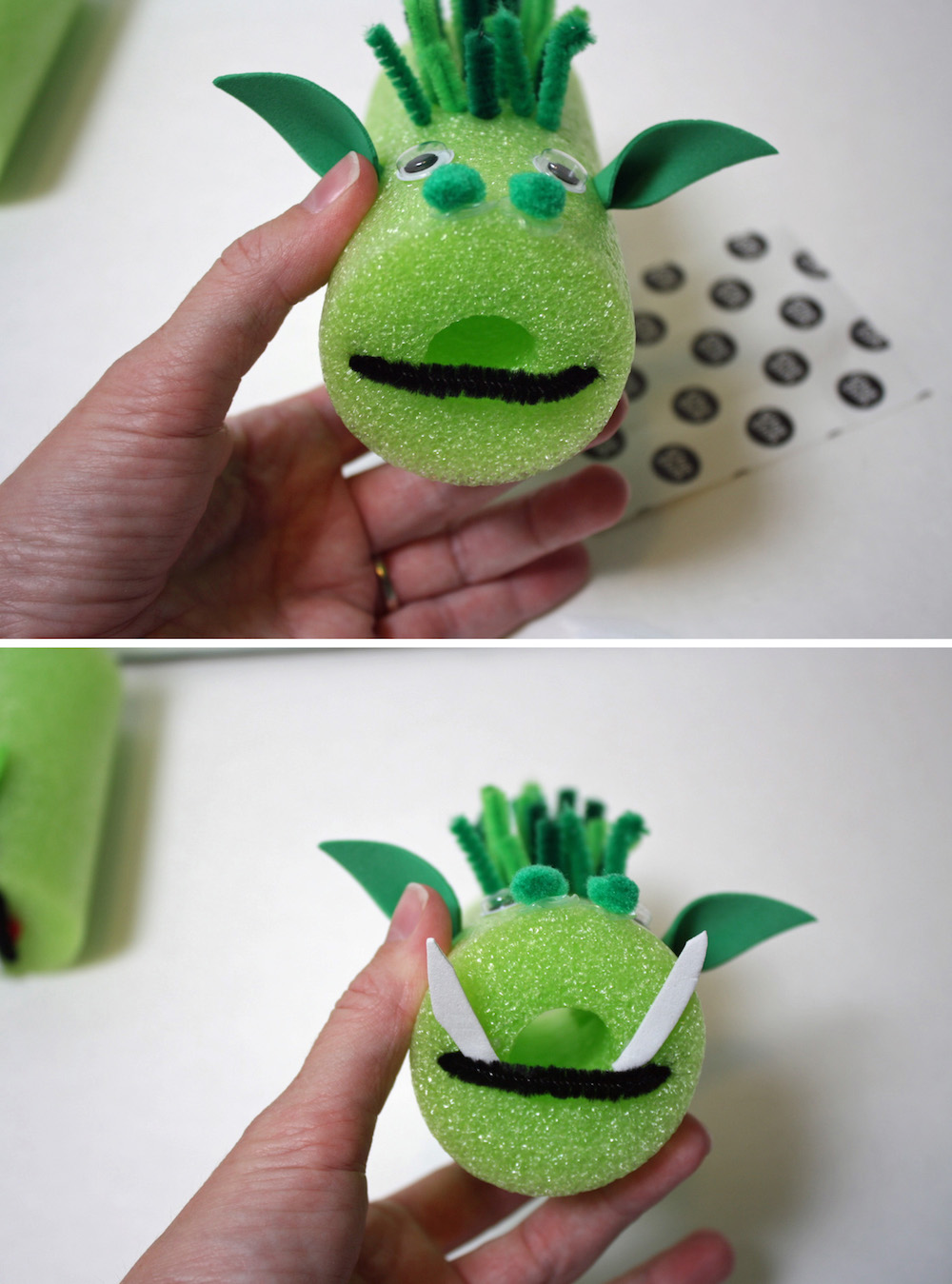 Add a mouth and teeth to Pete's Dragon Craft