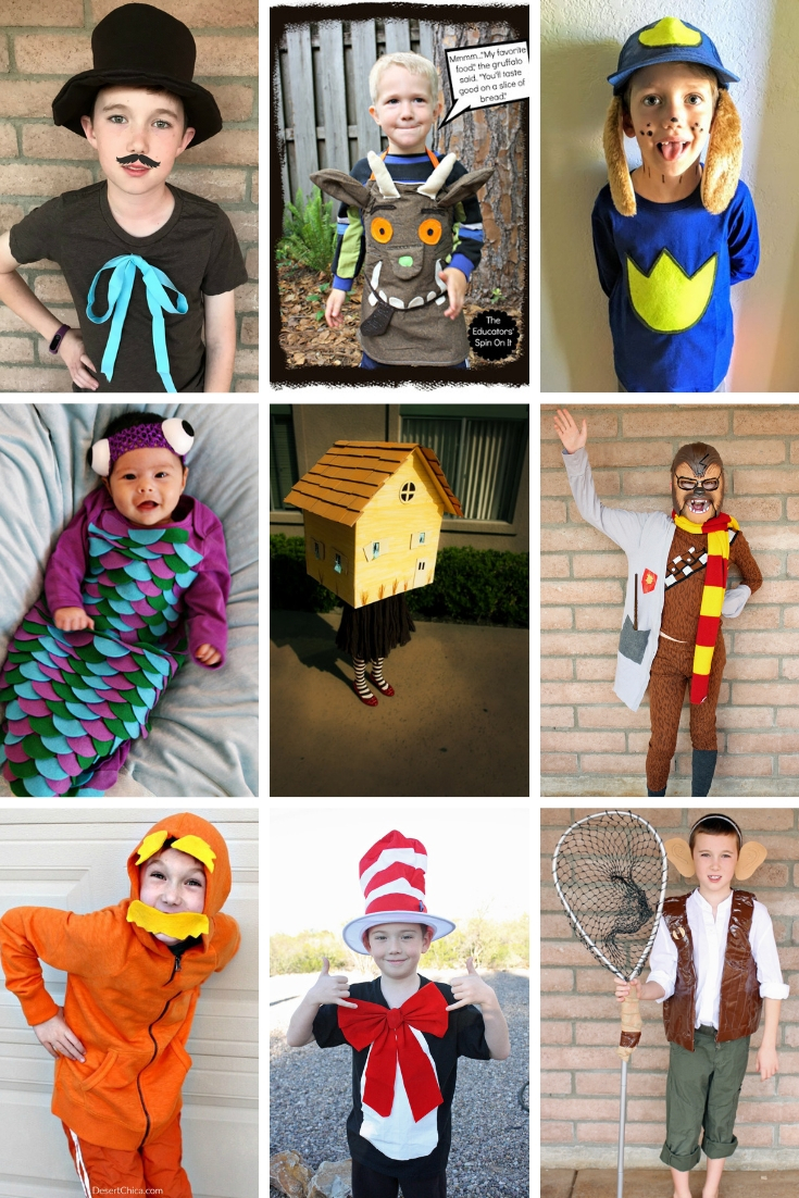 Easy DIY Book Character costumes for kids and for teachers. Over 30 classic and unique story book costumes for boys, for girls and for adults. Basically a simple or last-minute costume idea for just about everyone! Storybook Character Costumes   Character DIY Costume   Dress lie a Book Character for Kids   Dress like a Book Character for Teachers   Word Book Day Costumes for Teachers.