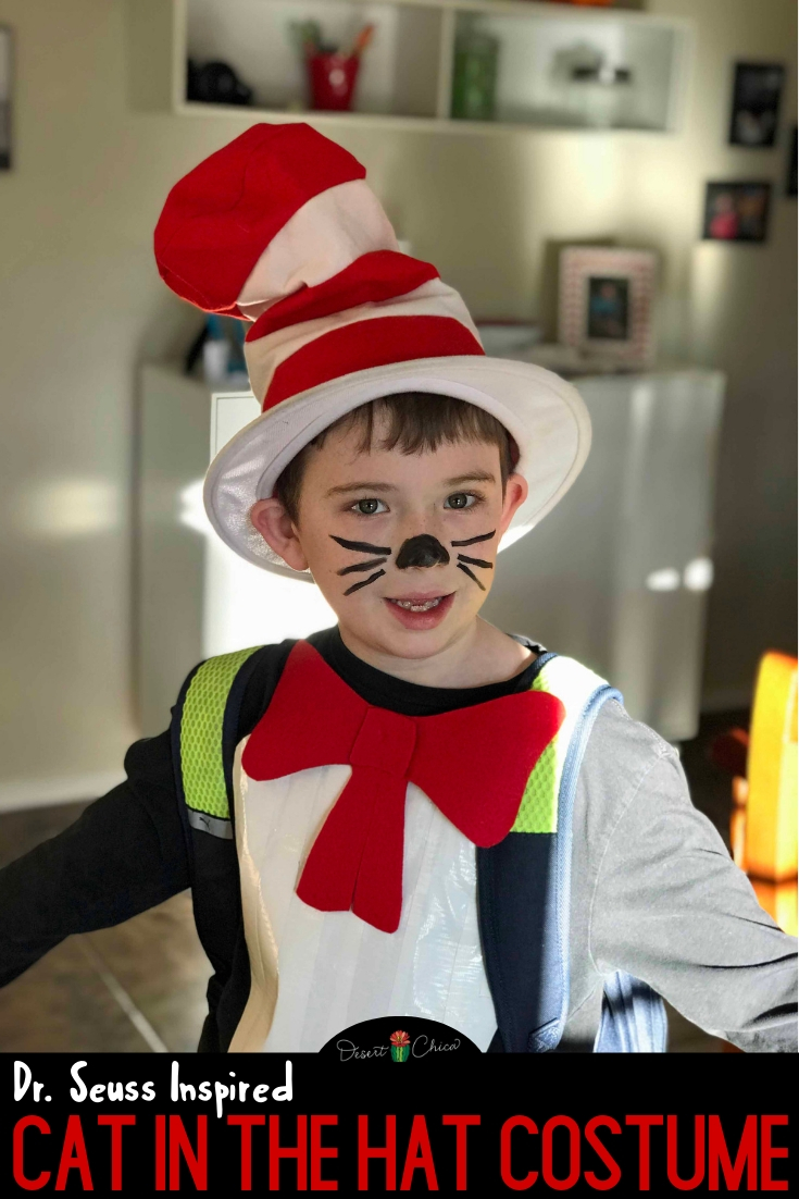 This Cat in the Hat costume is an easy homemade dress-up idea for boys, girls, and teachers. It's perfect if you need to Dr. Seuss character ideas for Read Across America week or storybook dress up day at school. The DIY is very simple and perfect if you need a last minute costume. Just follow the tutorial in this how to make Cat in the Hat costume post. Dr. Suess Costumes | Dr. Seuss Costumes for Kids | Dr. Seuss Costume Ideas | Cat in the Hat Face Paint