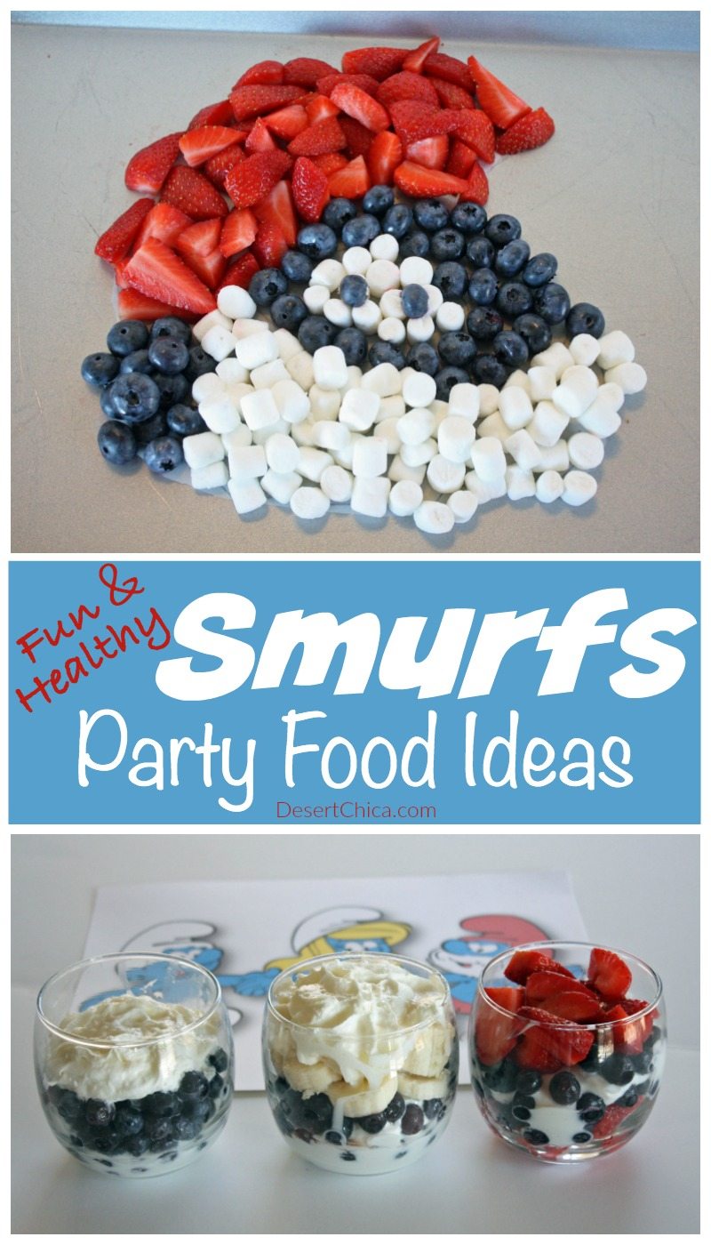 Who says party food can't healthy? Check out these Smurfs party food ideas, they are fun and mostly made using fresh fruit.