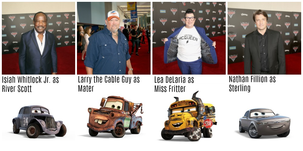 Cars 3 Cast with the Cars they play