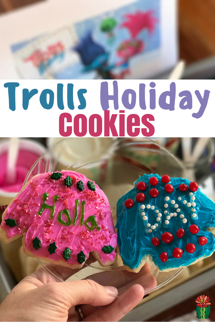 Need a fun treat to eat while watching the new Trolls Holiday movie? How about Trolls Holiday cookies, crazy holla day sweater cookies!
