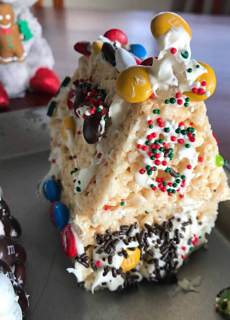 Kid friendly rice krispies gingerbread houses