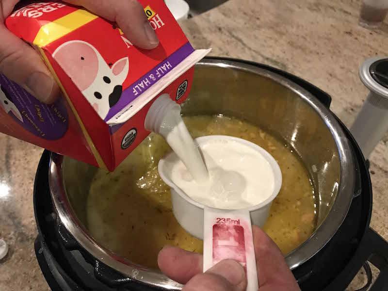 Pour half and half into instant pot potato soup