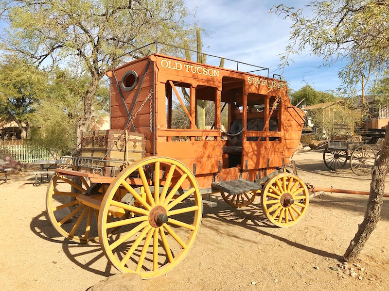 Stage Coach at Old Tucson Studios with kids