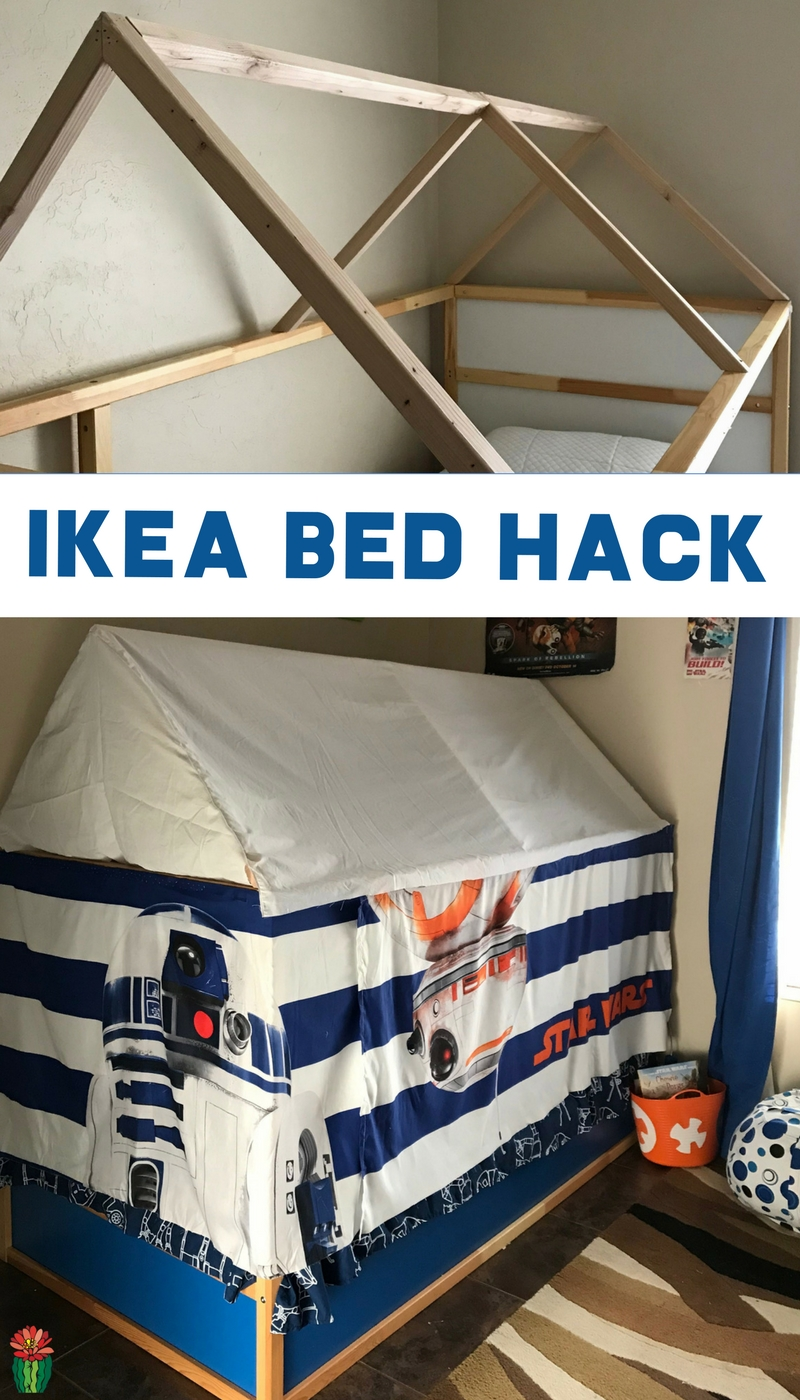 Learn how to make an Ikea bed tent with this easy hack involving curtains and a canopy. Perfect for making a secret reading nook out of the Kura bunk bed. My tutorial is Star Wars focused but it would be as a princess play space, or superhero themed as well. An easy DIY tutorial for a girl or boy bedroom using just fabric and wood.