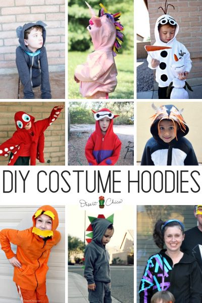 DIY Costume Hoodies are an awesome option for Halloween. There are lots of fun animal and geek options perfect as cosplay sweatshirt jackets too.