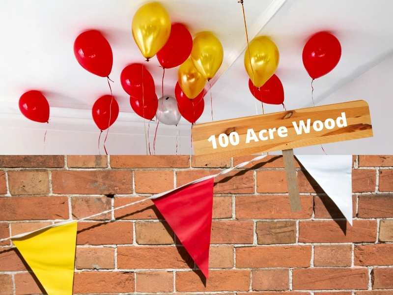 yellow and red party decorations for a simple winne the pooh birthday party color scheme
