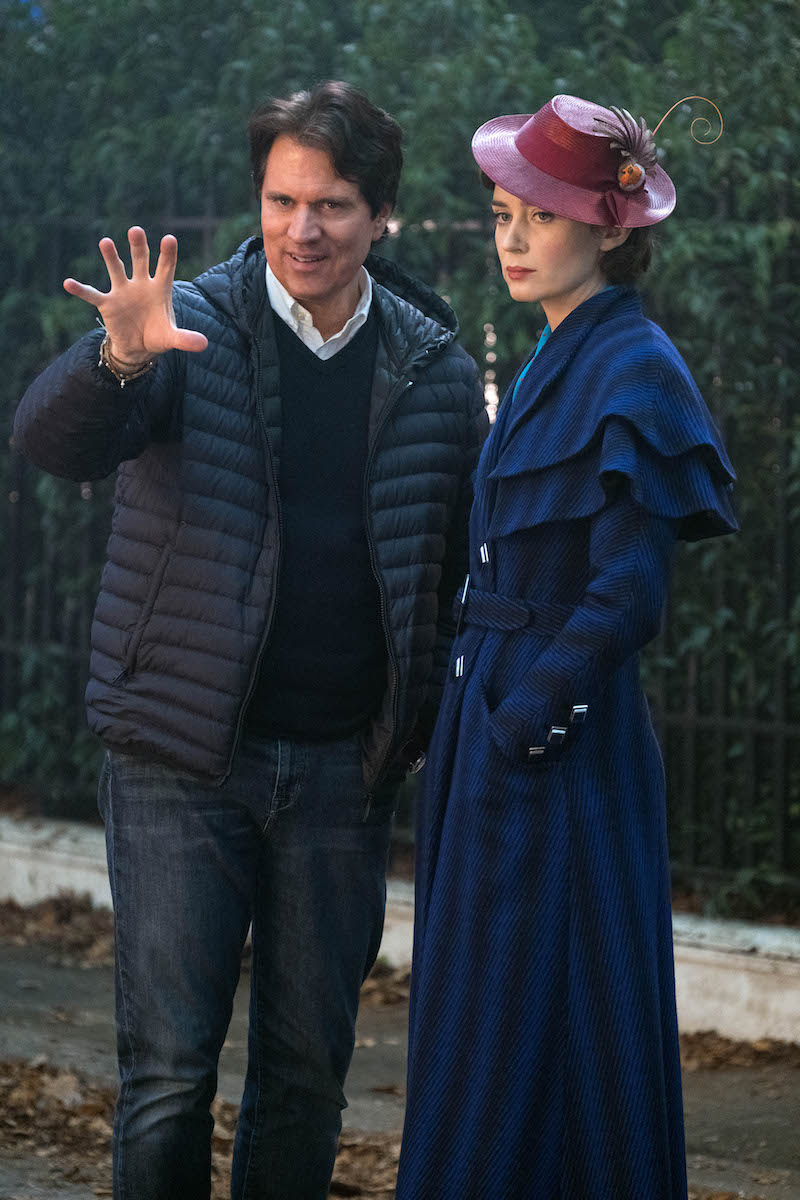 Rob Marshall directing Emily Blunt in Mary Poppins Returns