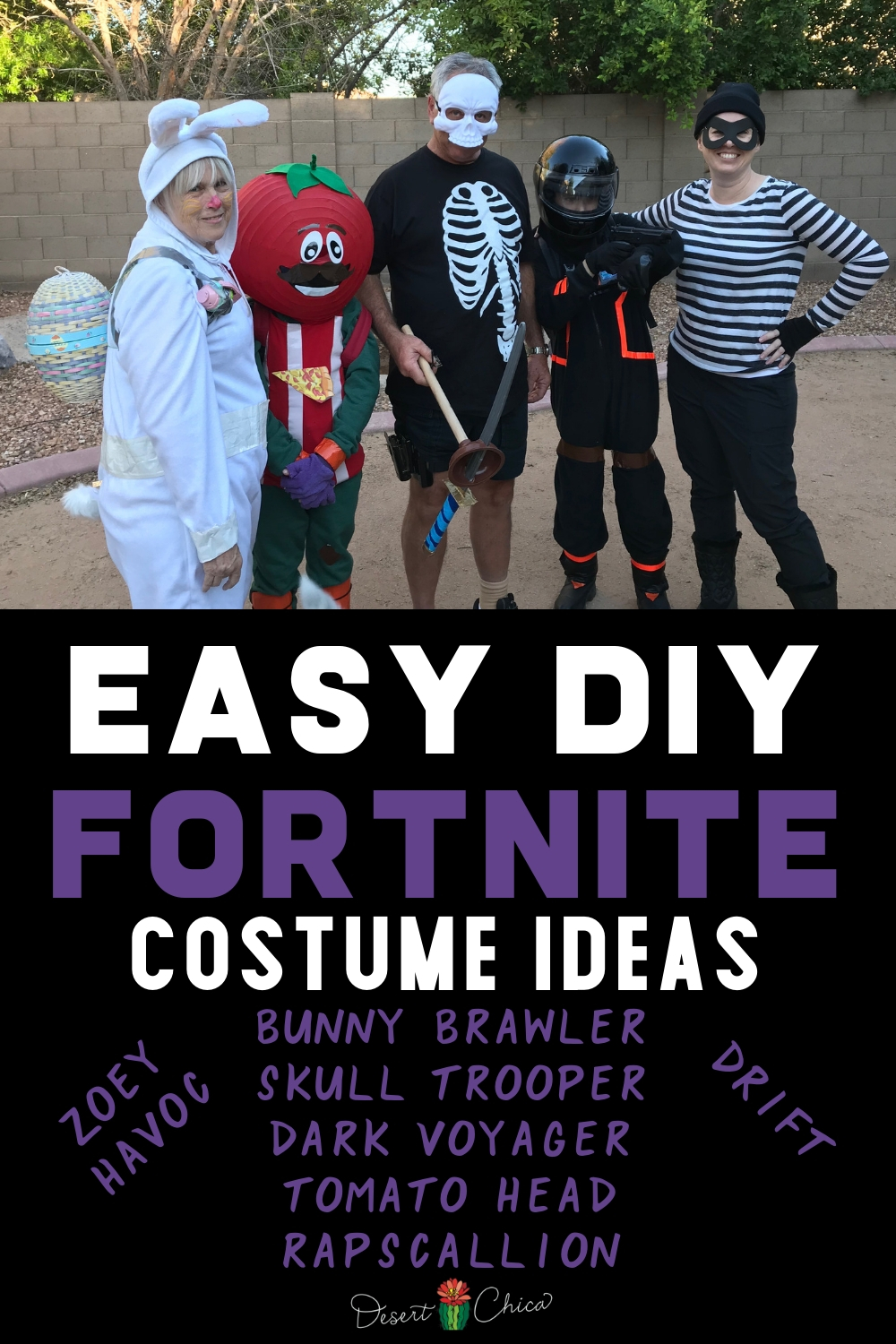 Need a simple DIY Fortnite costume for Halloween or themed party? I have several homemade Fortnite costume ideas good for kids including both boys and girl and adults too. Check out our ideas for Bunny Brawler, Skull Trooper, Dark Voyager, Rapscallion, Drift, Zoey, Havoc and Tomato Head! Fornite Drift | Zoey Fortnite | Fortnite DIY Costumes | Fortnight Costumes | How to make a Fortnite Costume