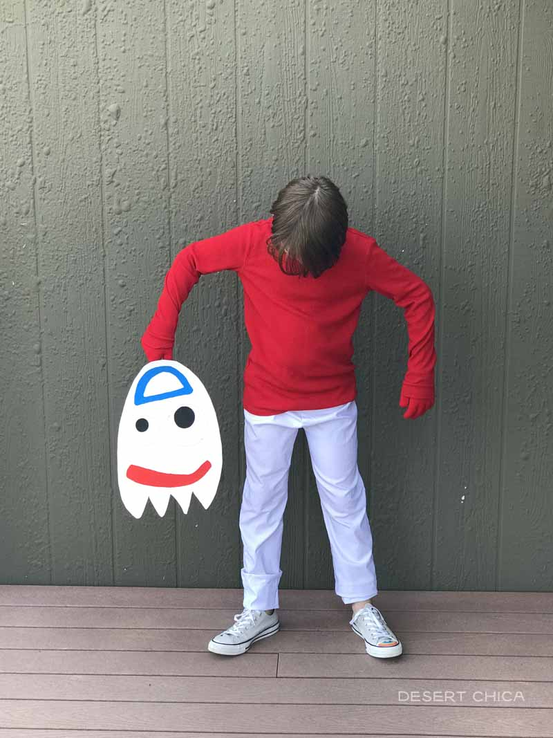 Boy wearing a Forky Costume