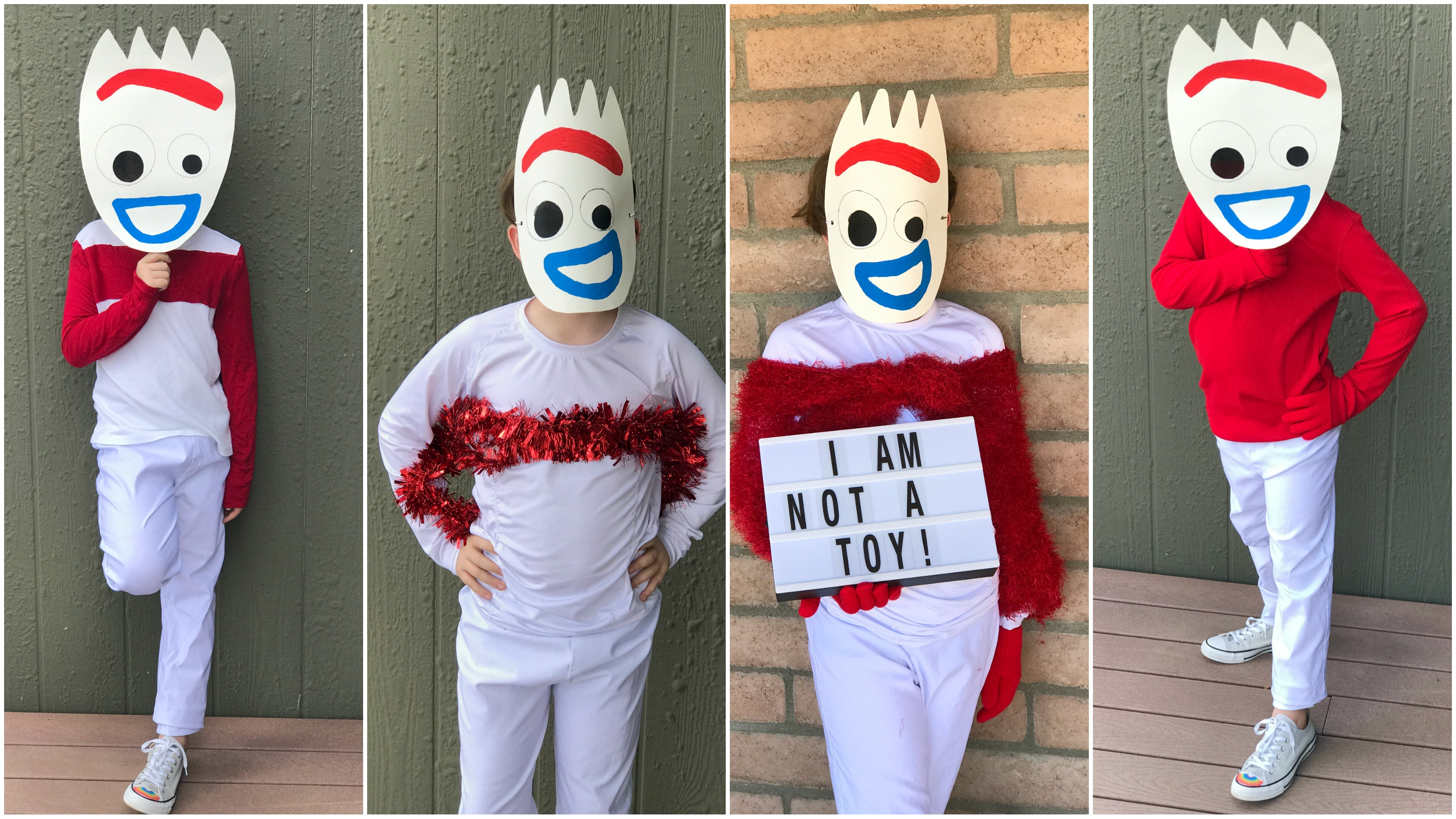 4 different version of a Forky Costume