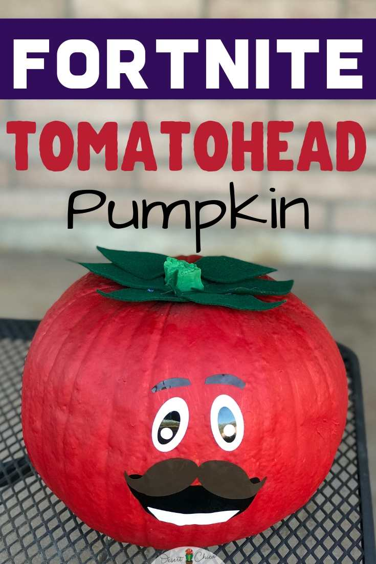 pumpkin decorated like fortnite character tomatohead