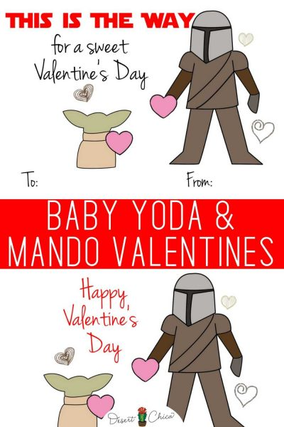 Printable Star Wars Valentines with Baby Yoda and Mando