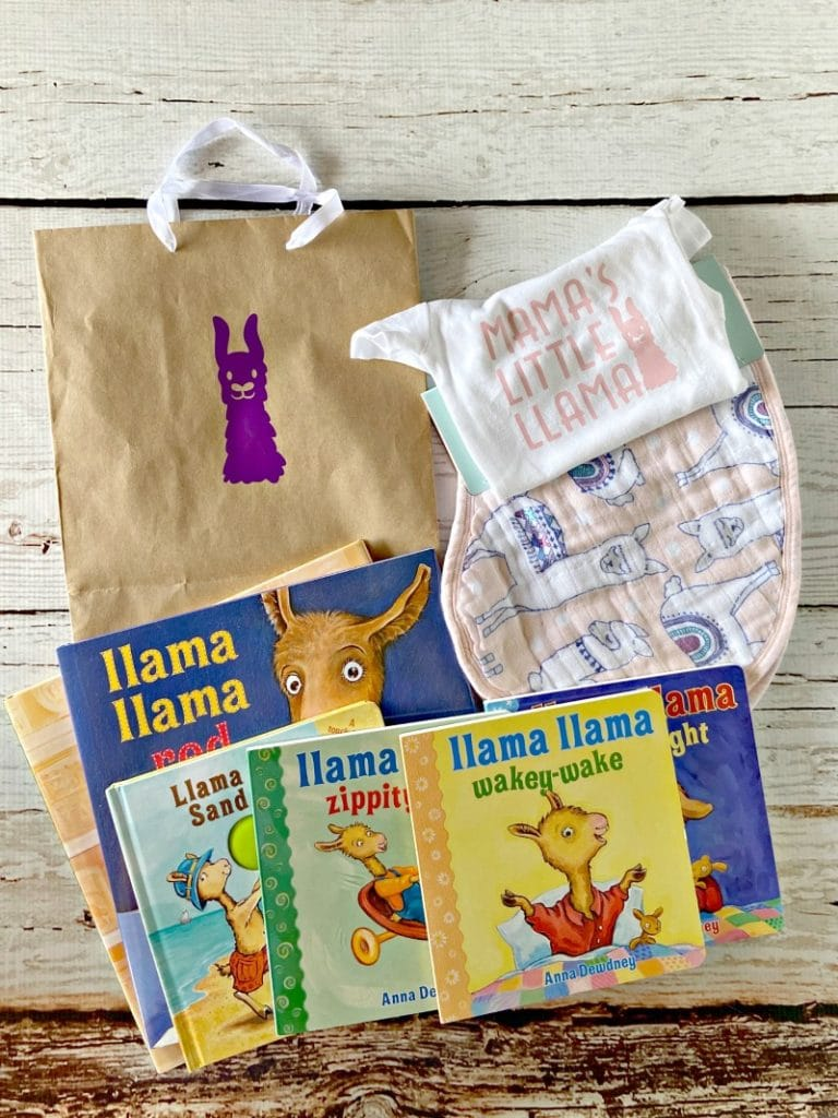 llama themed baby shower gift