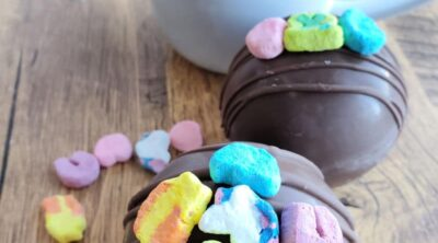 Lucky Charms Marshmallows on hot cocoa bombs