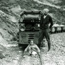 "Harry P. Gower and baby Mary Lillian Gower on the ""Baby Gauge Railroad"" - Courtesy National Park Service, Death Valley National Park"