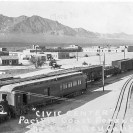 Death Valley Junction - T&T train arriving at DVJ 1930, Courtesy National Park Service, Death Valley National Park