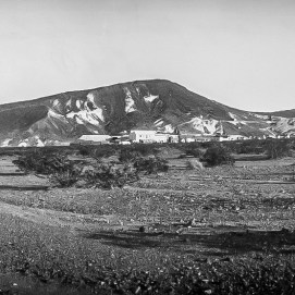 Lila C Mine - The Mine and Camp from a distance, looking east, Courtesy National Park Service, Death Valley National Park