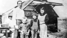 Mr. and Mrs. Frank Sands and children at the Lila C Mine, Courtesy National Park Service, Death Valley National Park
