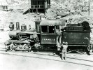 """Heisler geared locomotive at Ryan, California from Borate and Daggett RR used in construction of Death Valley RR 1914. There were two of these geared locomotives, one """"Francis"""" and the other """"Marion"""" after Francis Marion Smith - Courtesy National Park Service, Death Valley National Park"""