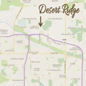 Map to Desert Ridge in Phoenix Arizona