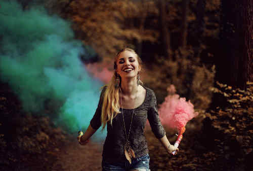 Red and blue smoke photo