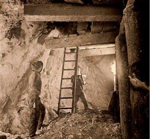 Mining after dynamite blasting
