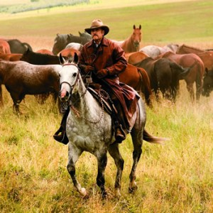 "Robert Duvall riding the range in ""Broken Trail"""