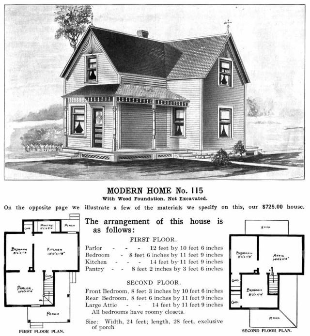 HomeSears Catalog Homes, model 115, 1908-1914.
