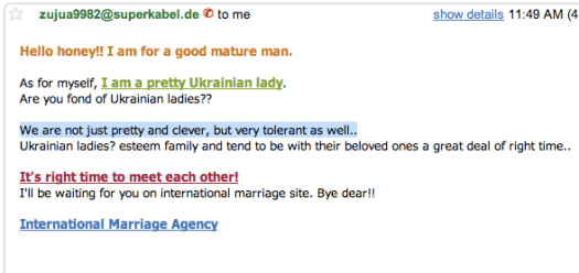 SPAM marriage email