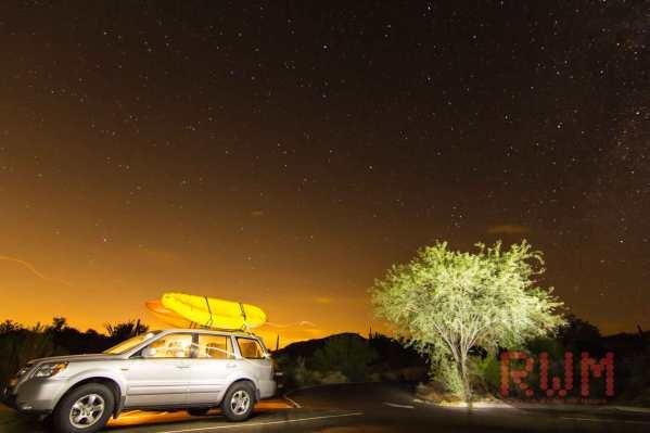 Honda Pilot at night to kayak bartlett lake