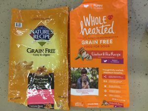 bags of Nature's Recipe Grain Free and Whole Hearted Grain Free dog food