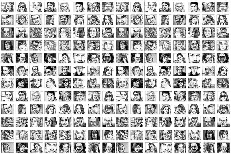 Montaje de unas 300 caras de personas en blanco y negro formando un cuadro.
