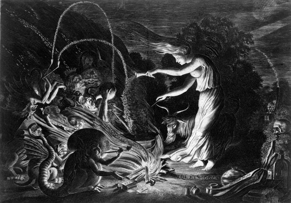 L0019609 A witch at her cauldron surrounded by beasts. Etching by J.