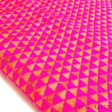 Hand embroidered Hot Pink Phulkari on Pure Silk Fabric