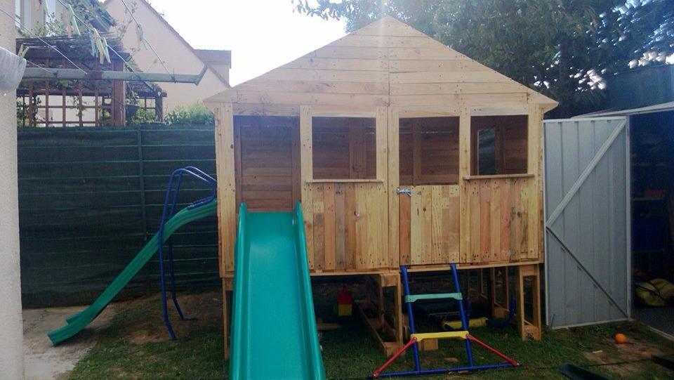 Ide De Cabane Pour Enfant Avec Des Palettes Et Planches