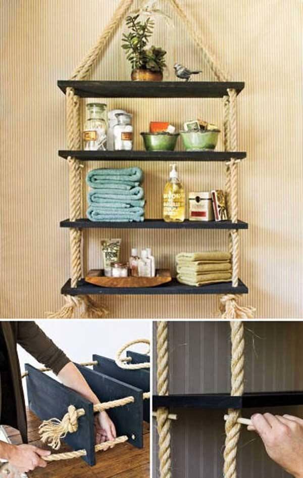 Fabriquer une tagre  laide de corde et de planches en
