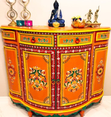 Bohemian hand painted console