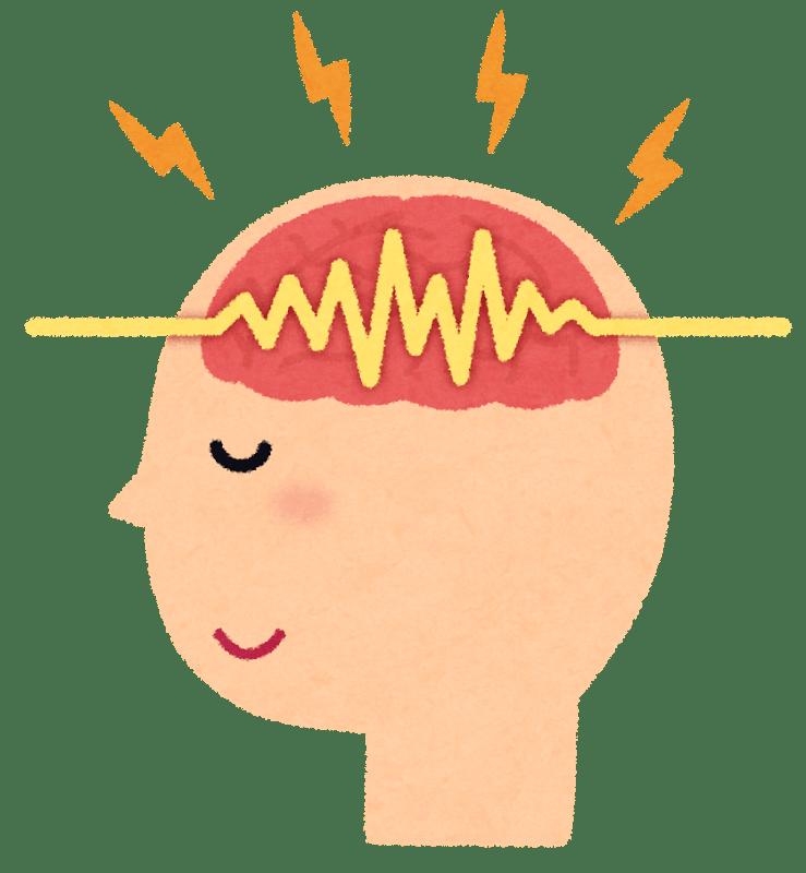 脳から発生している電気信号をイメージした、脳波のイラスト – 3つの ...