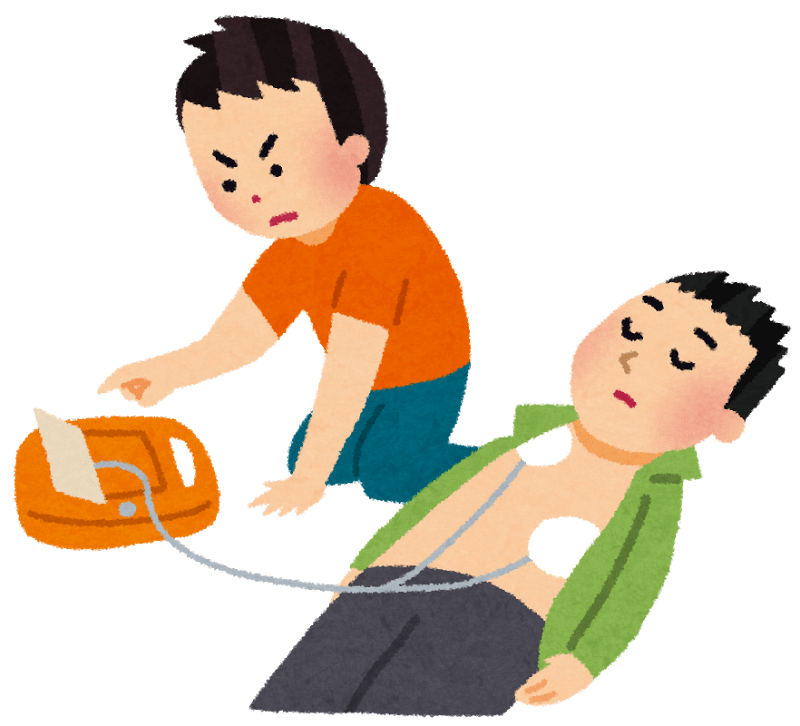 AEDを倒れた男性につないで、機械を操作している人のイラスト