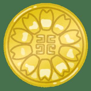 行政書士が胸につけるコスモスの花をモチーフにした金色のバッジのイラスト