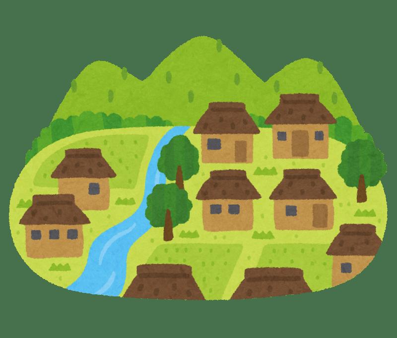 山 川 田んぼなど たくさんの自然が残った昔ながらの日本の農村の