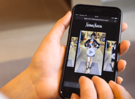 With the MemoryMirror, you are able to send your outfit choices to your smartphone  Image: Neiman Marcus