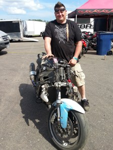 Corey Walters helped get the crashed bike from Turn Five