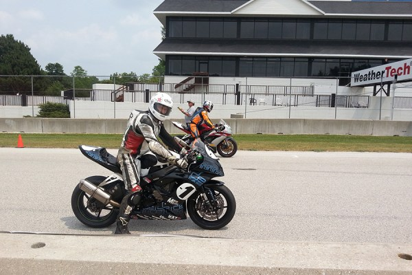 Bart on the front row on the line at Road America on the new ZX6