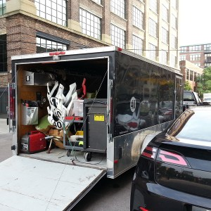 Design Engine trailer packed and loaded