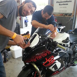 Brian & Max hard at work getting the new ZX6R ready for race tech inspection Saturday morning.