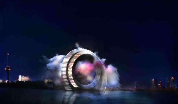 The Windwheel at night