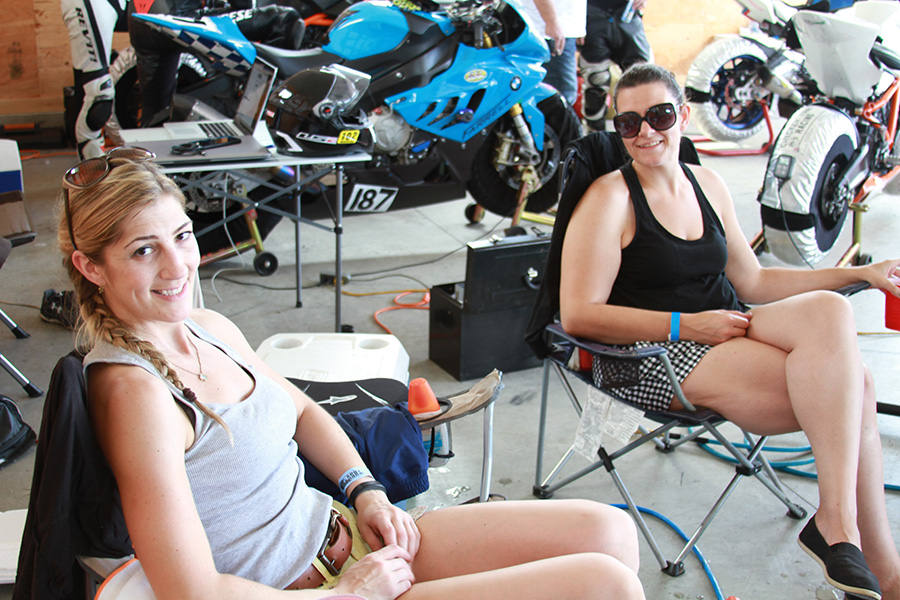 Sondra & Tarah hanging in the garage